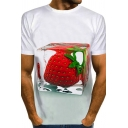 Dressy Mens 3D Ice Strawberry Note Pattern Short Sleeve Round Neck Regular Fitted Tee Top