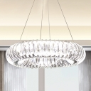 Clear Crystal Doughnut Ceiling Hang Fixture Modernist LED Pendant Chandelier over Dining Table