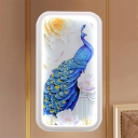 Rectangle Acrylic Wall Light Sconce Asian LED White Wall Mural Lamp with Peacock and Flower Pattern