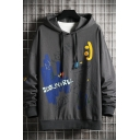 Chic Mens Cartoon Figure Letter Scoundrel 83.5 Printed Drawstring Long Sleeve Fitted Graphic Hooded Sweatshirt