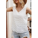 Stylish Ladies Applique Stringy Selvedge Sleeveless V-neck Loose Tank Top in White