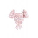 Gorgeous Womens Peach Printed Pleated Bow Back Button Down Square Neck Short Puff Sleeve Slim Fit Crop Blouse Top in Pink