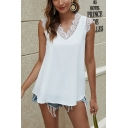 Trendy Womens White Lace Trimmed Sleeveless V-neck Relaxed Fit Tank Top