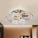 Crystal Block Rings Semi Mount Lighting Simplicity LED Stainless-Steel Flush Lamp Fixture