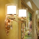 Traditional 2-Tier Cylinder Wall Mounted Light 2 Heads Clear and White Glass Shade Wall Lamp Fixture in Gold