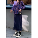 Pretty Girls Plaid Printed Ruffle-trimmed Long Sleeve V-neck Relaxed Shirt in Purple