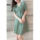 Gorgeous Ladies Checkered Print Short Sleeve V-neck Button down Bow Tied Pintuck Back Short A-line Dress