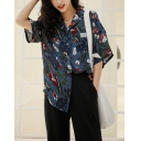 Vintage Womens Floral Plant Printed Label Detail Pocket Button Down Lapel Collar Short Sleeve Regular Fit Shirt in Blue