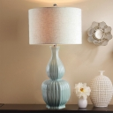 Fabric Beige Nightstand Lamp Cylinder Single-Bulb Rural Table Lighting with Gourd Ceramics Base