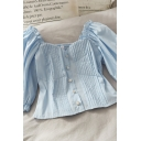 Hot Summer Solid Color Pleated Pearl Button Down Ruffle Trim Sweetheart Neck Short Puff Sleeve Regular Fit Cropped Blouse Top for Girls