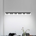 Piano Key Acrylic Pendant Chandelier Kids White/Black LED Ceiling Suspension Light in White/Warm Light