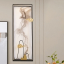 Chinese Ink Cloud Painting Mural Light Acrylic Bedroom LED Wall Lighting Fixture in Black-Gold