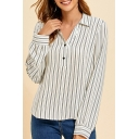 Simple Stripe Pattern Long Sleeve Turn down Collar Button Detail Relaxed Shirt Top in White