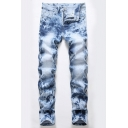 Fashion Mens Jeans Zip-fly Button Pocket Straight Fitted Full Length Light Blue Jeans with Washing Effect