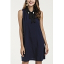 Elegant Ladies Blue Sleeveless Pearl Panel Point Collar Tied Front Cut out Back Short Shift Dress