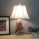 White 1 Head Table Light Farmhouse Fabric Empire Shade Nightstand Lamp with Shell Deco, 12