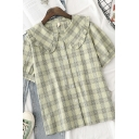 Chic Summer Girls Plaid Button Down Ruffle Trim Pleated Detail Peter Pan Collar Short Sleeve Regular Fit Shirt
