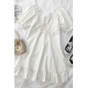 Trendy Womens Solid Color Lace Up Ruffle Trim Square Neck Short Puff Sleeve Short Smock Dress in White