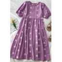 New Summer Daisy Embroidery Print Pleated Tiered Crew Neck Short Puff Sleeve Midi A Line Dress for Womens
