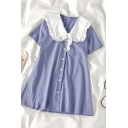 Lovely Girls Button Down Patchwork Ruffle Trim Peter Pan Collar Short Sleeve Midi Plus Sized Smock Dress