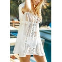 Pretty Womens See-through Mesh Lace Trim Deep V-neck Hollow out Short Shift Dress in Apricot