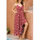 Gorgeous Ladies Allover Flower Print Spaghetti Straps High Low Hem Long Pleated Cami Dress in Burgundy