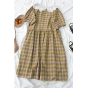 Hot Popular Plaid Pleated Patchwork Lace Peter Pan Collar Short Puff Sleeve Midi Smock Maxi Dress for Girls