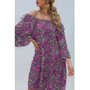 Casual All over Floral Printed Bell Sleeve Off the Shoulder Short Swing Dress for Women