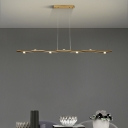 Metal Wavy Linear Chandelier Light Fixture Modernism LED Pendulum Lamp in Gold/Wood, White/Warm Light