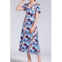 Blue Gorgeous All over Floral Printed Short Sleeve V-neck Mid A-line Dress for Women