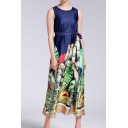 Casual Leaf Printed Sleeveless Round Neck Bow Tied Waist Long Pleated A-line Dress in Blue
