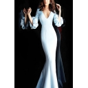 Gorgeous Womens Solid Color Puff Sleeve V-neck Maxi Fishtail Dressing Gown