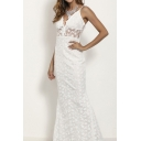 Banquet Ladies Applique Spaghetti Straps Backless Maxi Fishtail Slip Dress in White