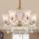 Modern Style Bell Up Chandelier 6-Head Crystal Pendant Ceiling Light in Gold for Dining Room
