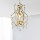 Crystal Open Vase Pendant Light Rustic Single-Bulb Dining Room Hanging Lamp Kit in Gold