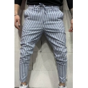 Mens Stylish Trousers Striped Pattern Drawstring Waist Pockets Ankle Length Tapered Fit Relaxed Trousers