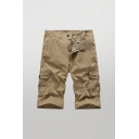 Stylish Shorts Solid Color Zip-fly Button Detail Flap Pockets Longline Straight Fit Cargo Shorts for Men