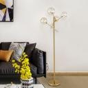 Clear Glass Ball Shade Floor Lighting Modernist 4-Light Gold LED Branch Standing Lamp