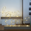 Gold Letter HOME/LOVE Small Night Light Romantic Minimalist Iron LED Table Lamp with Wood Pedestal