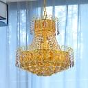 Clear Crystal 2-Layer Chandelier Lamp Mid Century 8 Bulbs Restaurant Pendulum Light in Gold