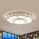 Beveled Crystal Squares LED Flush Light Modern Coffee Flower Bedroom Ceiling Mount Lamp