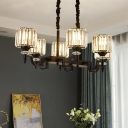 6 Lights Island Pendant Modern Dining Hall Hanging Lamp with Cylinder Crystal Shade in Black