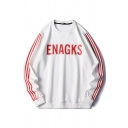 Stylish Letter Enagks Printed Striped Long Sleeve Crew Neck Oversize T Shirt for Men