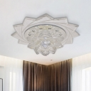 Clear Crystal Lotus Flush Mount Fixture Modernist LED Flush Ceiling Light for Hallway