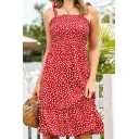 Boho Girls Ditsy Floral Printed Bow Tied Shoulder Ruffled Hem Mid A-line Cami Dress in Red