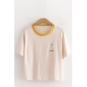 Stylish Letter Apple Graphic Short Sleeve Contrasted Round Neck Relaxed Crop Tee Top in Apricot