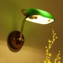 Rollover Shade Bedside Wall Banker Lamp Retro Light-Green/Green Glass 1-Bulb Brass Reading Wall Light