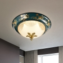 3-Bulb Peony Patterned Bowl Flush Light Vintage Green Frosted Glass Ceiling Mounted Lamp