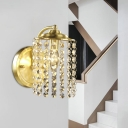 Brass Cylindrical Wall Mounted Lamp Rural Crystal Octagons Single Living Room Sconce