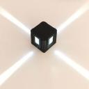 Cube Wine Club 4-Way Wall Lamp Aluminum Modern LED Sconce Light in Purple/Blue/Red Light, Black